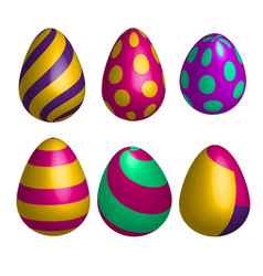 set of realistic happy easter eggs in vector image