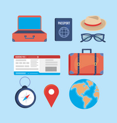 Set travel destination journay and location vector