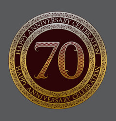 seventieth happy anniversary celebration symbol vector image