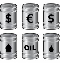 shiny oil barrels with insignia vector image vector image