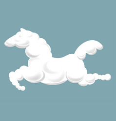 silhouette of clouds in shape of horse that jumps vector image