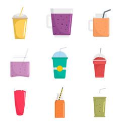 Smoothie fruit juice icons set flat style vector
