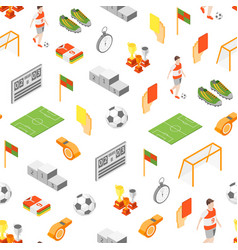 Soccer sport game signs 3d seamless pattern vector