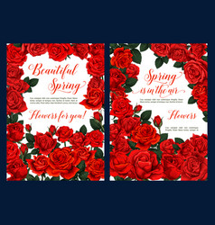 Spring floral poster with red rose flower frame vector