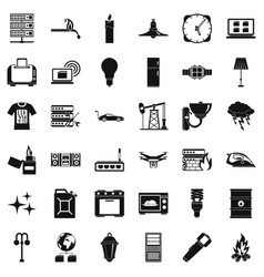 Strong electricity icons set simple style vector