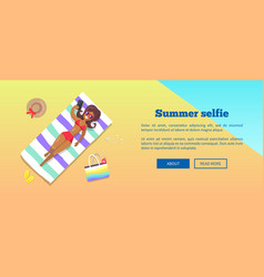 summer selfie banner with woman taking photograph vector image