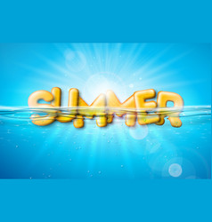 Summer with 3d typography vector