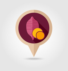 Sweet potato flat pin map icon batata vegetable vector
