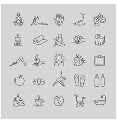 Thin line yoga icons health life icon set vector