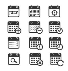 Time date and calendar icons vector