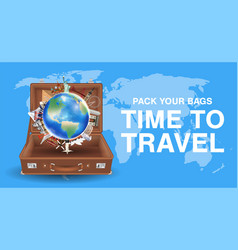 travel around world with world landmark in bag vector image