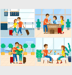 Traveling people couple in airport hotel reception vector