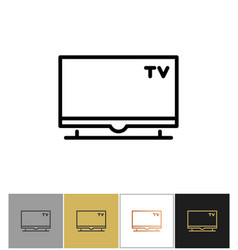 tv icon flat screen television symbol vector image