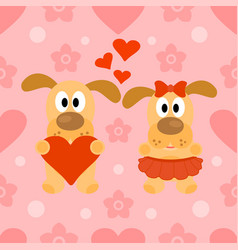 Valentines day seamless background with dog vector