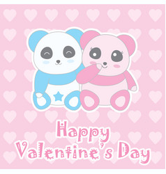 valentines day with cute baby boy and girl panda vector image