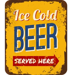 Vintage Beer Tin Sign vector image