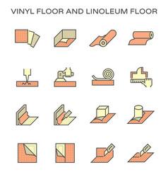 Vinyl floor and linoleum floor installation work vector