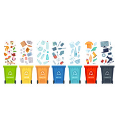 waste segregation sorting garbage material and vector image