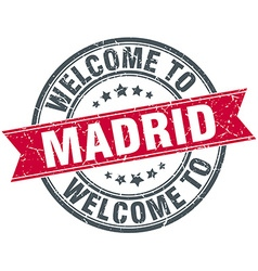 Welcome to Madrid red round vintage stamp vector