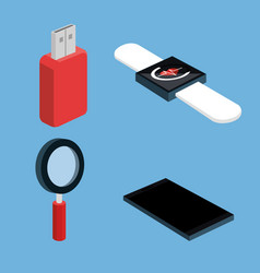 wireless connection wearable technology electronic vector image