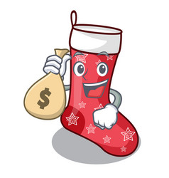 With money bag character christmas sock for vector
