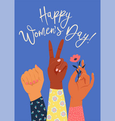 womens hand with her fist raised up girl power vector image