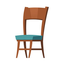 wooden chair furniture cartoon element for room vector image