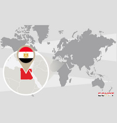 World map with magnified egypt vector