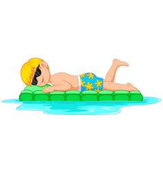 young man relaxing on inflatable mattress vector image