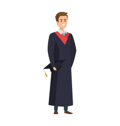 Young man student graduated with hat vector