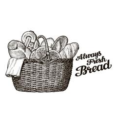 Bread bakery hand drawn sketch of food vector