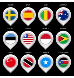 Map marker with flag-set third vector image vector image