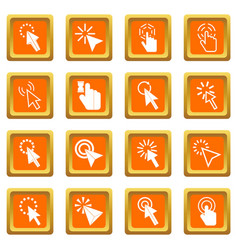 mouse pointer icons set orange vector image
