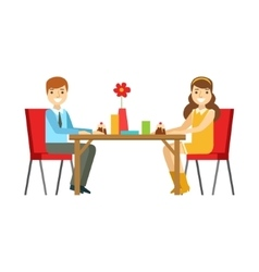 Young Couple On A Date Eating Cakes Smiling vector image vector image