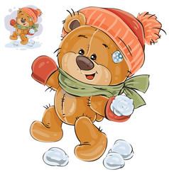 A brown teddy bear throws a vector
