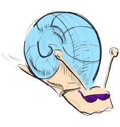 Cartoon snail in sunglasses vector image