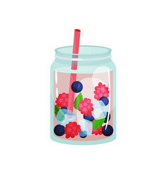 delicious detox water with raspberry blueberry vector image vector image