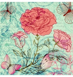 Grungy retro background with roses and butterflies vector image
