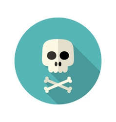 Halloween skull flat circle icon over blue vector image vector image