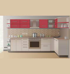 realistic kitchen interior vector image vector image