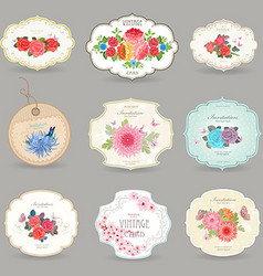 romantic collection retro label with graceful vector image vector image