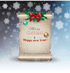 Christmas backgound with old scroll vector image