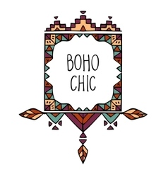 Colorful hand drawn boho style frame with text vector image vector image