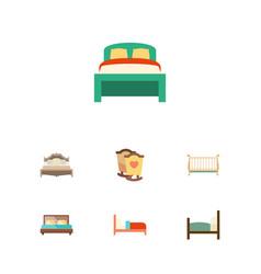 flat mattress set of bedroom cot bearings and vector image vector image