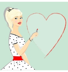 Retro beautiful girl with heart pin-up vector image