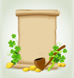 scroll and clover leaves vector image vector image