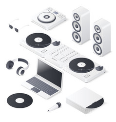set of dj mix devices isolated on white background vector image vector image