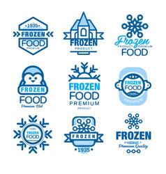 frozen food premium product set of logo templates vector image vector image