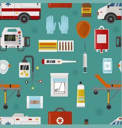 medical icons set care ambulance emergency vector image