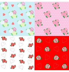 Seamless patterns with rose and heart vector image vector image